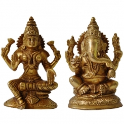 Lakshmi Ganesha Pair OF Brass
