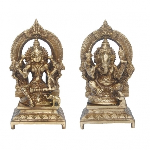 Lakshmi Ganesha Pair Made of Brass