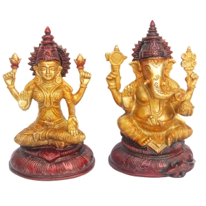 Laksmi Ganesha Statue in Dual Antique Finish