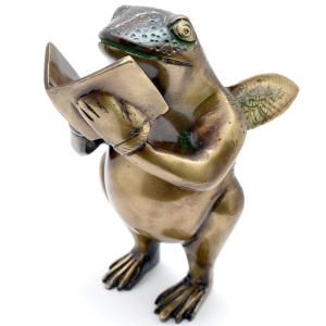 Book Reading frog statue Made in Solid Metal