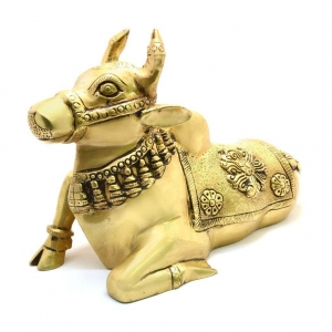 Brass statue of Cow in Yellow Finish