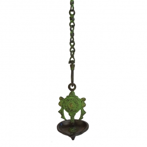 Hanging Chakra Oil Lamp in Brass in Green Finish