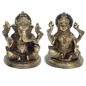 Pair of Laxmi- Ganesha of Brass