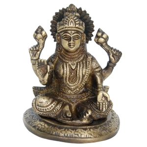 Sitting Laxmi Brass Statue in Antique Finish