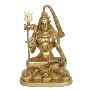 Maha Dev Brass Statue in Yellow Finish