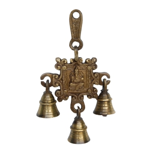 Ganesha Carving Brass Hanging Bell