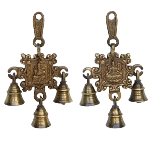 Laxmi Gnesha Carving Brass Bell Pair