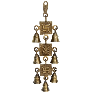 Ganesha and Swastik Religious Hanging with Bells