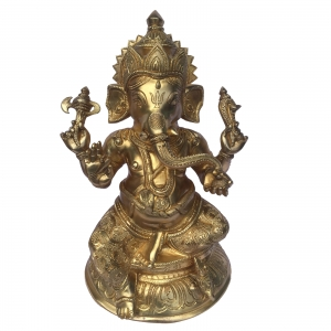 Chatarbhuj Ganpati Fine Carving Brass Beautiful Showpiece