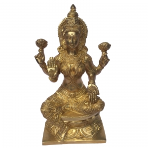 Goddess Laxmi Brass Carved Metal Statue for Home Decor