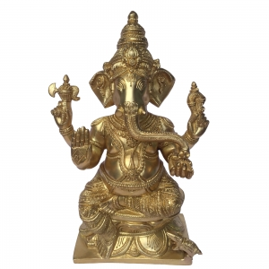 Blessing Ganesha Brass Sculpture In yellow Finish