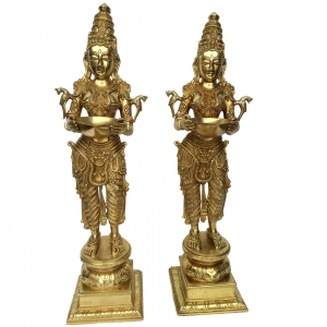 Pair of Decorative Showpice of Brass Deep Laxmi