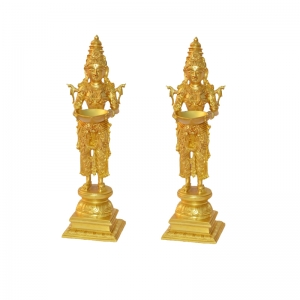 Deep Laxmi Pair of Decorative Religious Table Statue in Brass