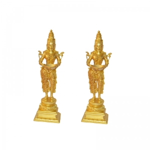 Decorative Pair Statue of Welcome Lady/ DeepLaxmi in Brass