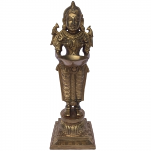 Two Deep Laxmi Statue of Brass for Home Decor(Pack of 2)