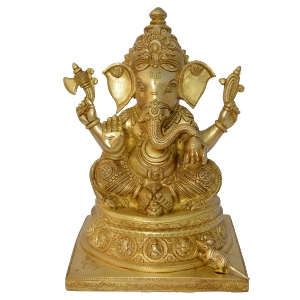 Ganpati Religious hand carved Brass Statue