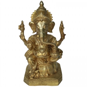 Lord Ganesha with Kalash in Hands Brass Religious Figure