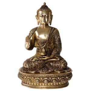 Blessing Lord Buddha Brass Statue in Antique Finish