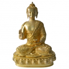 Buddha Statue Hand Carved Brass Metal Showpiece