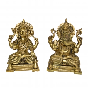 Pair of Laxmi Ganesha Brass Statue