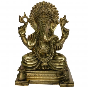 Antique Finish Lord Ganpati statue in Brass Metal
