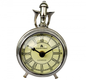 Table clock (metal Aluminium) Nickel finish use as gift item