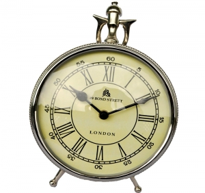 Royal look Table clock (metal Aluminium) Nickel finish use as gift item