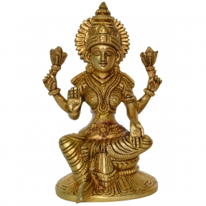 Brass Beautiful Statue of Goddess Laxmi in Antique Finish