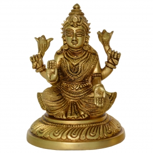 Goddes Of wealth Religious Laxmi ji Statue in Brass