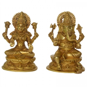 Pair of Laxmi Ganesha Religious Decorative Statue in Brass