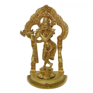 Krishna Decorative Statue with frame in Brass with Antique Finish
