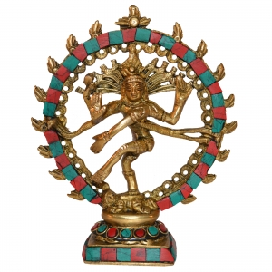 Natraj (Lord Shiva) with Turquoise coral stone work