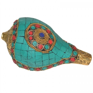 Metal Shankh (Shell) with turquoise work.