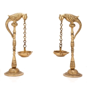 Aakrati Pair of Bird Diya Oil Lamp Stand Brass Hindu Religious Puja Artical Also use for Fengshui Gifts and Home Temple
