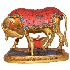 Unique Lovely Cow & Calf Caring Idol Handicraft Piece by Aakrati