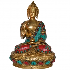 1820227ad Lord Sitting Buddha with Stone Blessing Antique Idol Art Decor Gifts