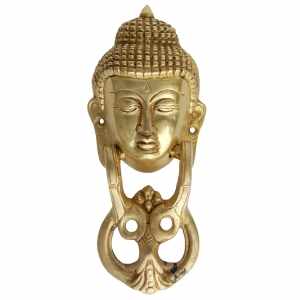Aakrati Door Hardware Fitting with Lord Buddha in Yellow Antique Finish 20 cm Long Functional Door Knocker for Your Home Door and Decoration.
