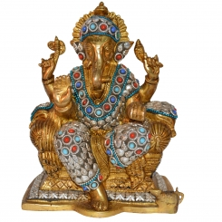 Ganesh Idol Brass Sculpture Decorative Figurine Ganesha Statue Diwali Decor Gift