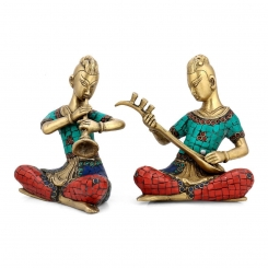 Musican Set Sculpture with turquoise Coral stone set of 2 pcs