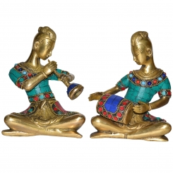 Home Decor Indian Art Brass Musician Figurine with stone work