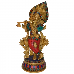 Krishna Statue Made in Brass Metal with turquoise stone finish By Aakrati