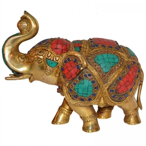 Decorative Gift of Brass made elephant with turquoise coral stone work by Aakrati