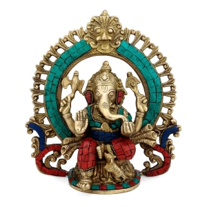 God Ganesh Idol decorative murti with stone work