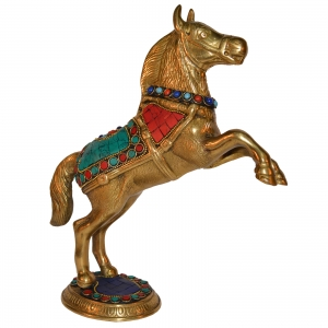 Jumping Horse Statue Made in Brass Metal in Turquoise by Aakrati