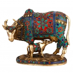 Beautiful Decorative Cow and Calf Brass Stone Work Statue
