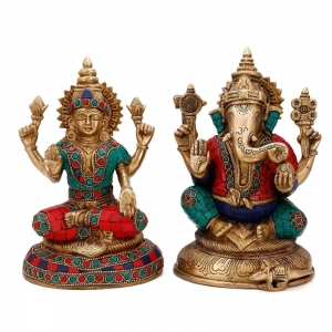 Laksmi Ganesha Statue in Dual Stone work Finish