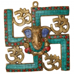 Ganesha and Swastik Brass Wall Hanging/wall Decor Turquoise work
