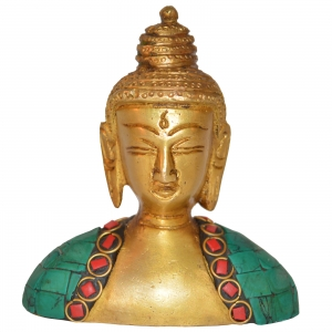 Brass Made Lord Buddha Bust stone work