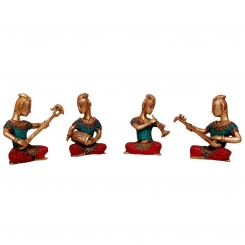 Set of Four Musicians Brass Statue in coral stone work