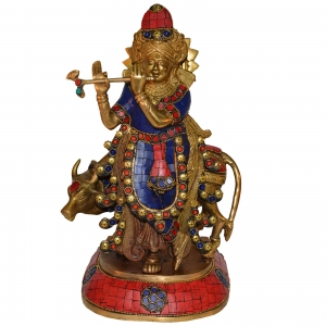 Lord Krishna with a Cow and His Flute in turquoise work - Brass Sculpture